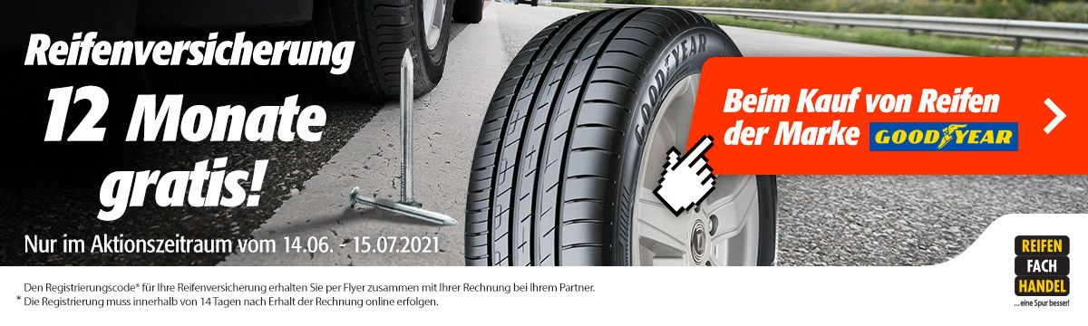 Reifenversicherung gratis für Goodyear Sommerreifen
